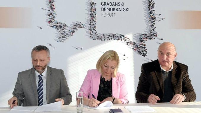 Potpisan dogovor o saradnji Stranke moderne Srbije, Građanskog demokratskog foruma i Tolerancije Srbije