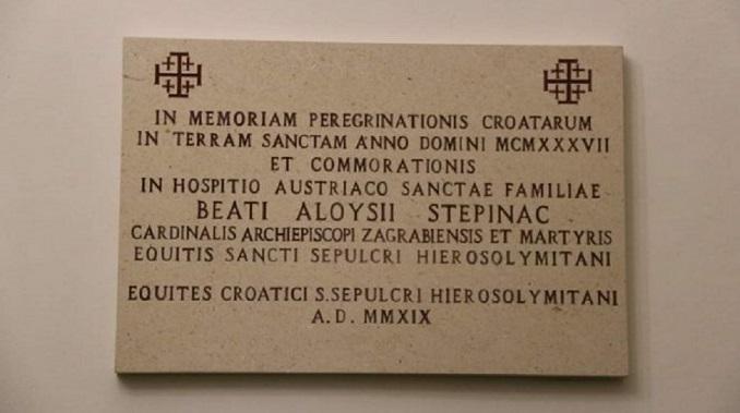 Spomen ploča Alojzija Stepinca postavljena u Jerusalimu