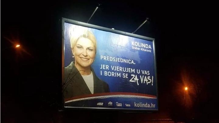 Bilbord sa Kolindom osvanuo u Subotici: Predsednica Hrvatske vodi kampanju i u Srbiji