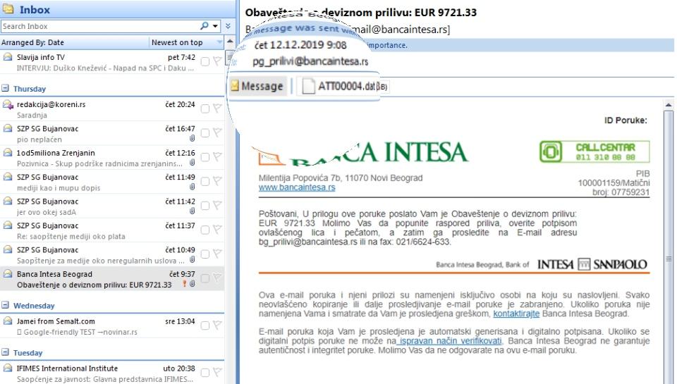 """NIKAKO NE OTVARAJTE OVAKAV MEJL U toku je uverljiva """"phishing"""" kampanja, poruke stižu klijentima nekoliko banaka u Srbiji"""