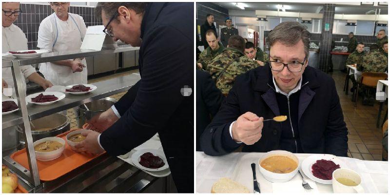 """Vučić na nedeljnom ručku u kasarni """"Topčider"""":Najdraža uspomena iz vojske miris i ukus vojničkog pasulja"""